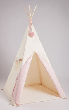 Natural Tipi – Pink with White Butterflies