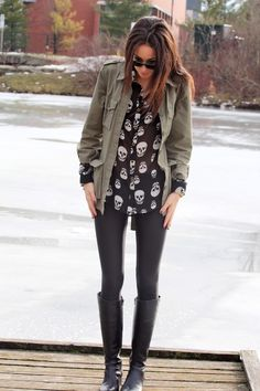 Skull blouse and green military jacket
