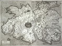 """Map of an Englishman, Grayson Perry, 2004.   Etched in a mock-Tudor style, an imaginary island, vaguely reminding the form of the brain, is surrounded by the seas of Perry's psychological flaws (Schizophrenia, Delirium, Anorexia Nervosa), while the countryside is defined by the artist's """"prejudices, fears, desires and vanities"""" in the shape of the counties of """"Sex"""", """"Tender"""", """"Cliche"""" or """"Dreams""""."""