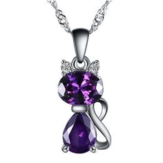 WYBEADS Unique Silver Plated Cat Pendant Austria Crystal AAA Zircon Pendants Fit Necklaces Chain For Women Charm Fashion Jewelry