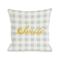 Found it at Wayfair - Smile Gingham Throw Pillow