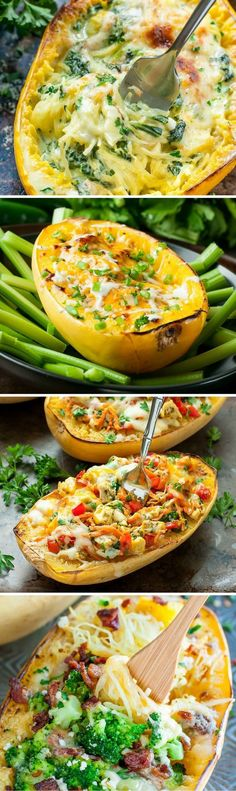 7 Ways to Stuff a Spaghetti Squash :: with vegan, vegetarian, and t-rex options available, there's something for everyone here! #nutritionprogram,