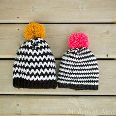 Black and white striped crochet beanie