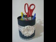 Reciclar lata- DIY Lata Decorada com Jeans - YouTube