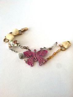 Pink Butterfly Shabby Chic Bracelet Vintage by DarlingBracelets, $22.00