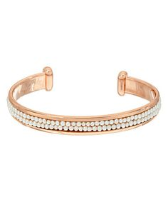 Love this White Cultured Pearl & Rose Goldtone Cuff on #zulily! #zulilyfinds