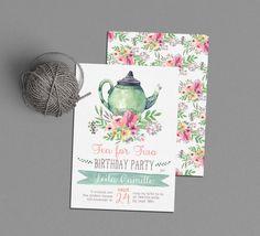 Tea Party Birthday Invitation, Tea for Two