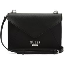 GUESS Doheny Envelope Cross-Body ($55) ❤ liked on Polyvore featuring bags, handbags, shoulder bags, bolsos, purses, black, cross body purse, crossbody handbags, leather shoulder handbags and black leather shoulder bag