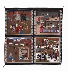 4 in 1 Pictorial Rug by Jane Hyden (Navajo) Native American Drawing, Native American Rugs, American Indian Art, American Indians, Navajo Weaving, Navajo Rugs, Indian Arts And Crafts, Navajo Nation, Bubble Art