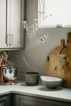 love the mute kitchen colors and clay pots and wooden boards, would change the mixer to stainless steel