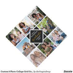 Graduation Cap Toppers, Graduation Caps, Grad Cap, Square Photos, Christmas Card Holders, Custom Photo, Artwork Design, Floral Watercolor, Hand Lettering