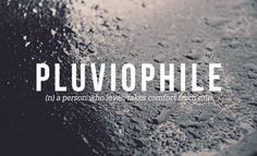 Pluviophile someone who loves and finds comfort in rain