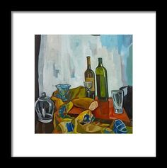 Still Life Framed Print featuring the painting Still Life With Bread by Carmen Stanescu Kutzelnig Painting Still Life, Hanging Wire, Be Still, Fine Art America, Framed Prints, Bread, Brot, Breads, Bakeries