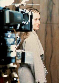 """Meryl Streep on the set of """"Kramer vs. Kramer,"""" 1978."""
