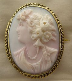 Beautiful antique pink shell cameo