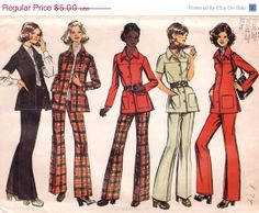 SALE Vintage 1970s Sewing Pattern - 2 Piece Outfit, Shirt-Jacket & High-Waisted Bell Bottom Pants - 1972 Simplicity 5247, Bust 36, Uncut