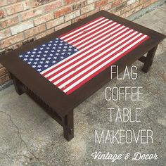 DIY Dorm Room Flag Vintage Table Upcyle By Vintage 8 Decor #rethunkjunk  #upcycle #