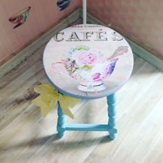 Painted & decoupaged bar stool