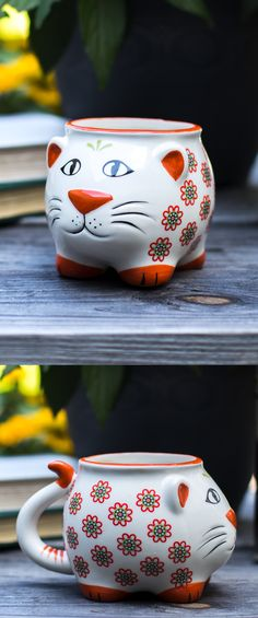 Add a cup of cattitude to your day! This cheerful cat mug spreads joy with an adorable face and a floral design to get your day off to a happy start.