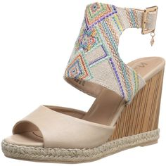 Nanette Nanette Lepore Women's France Wedge Sandal ($45) ❤ liked on Polyvore featuring shoes, sandals, wrap sandals, wedge sandals, special occasion sandals, embroidered shoes and wedge heel shoes