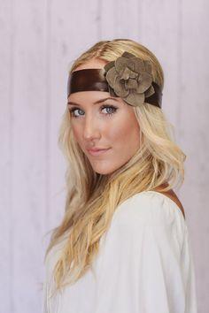 Leather Headband Suede Flower Leather Head Band by ThreeBirdNest