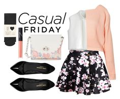 """Casual Friday Skirt Night"" by wikianna ❤ liked on Polyvore featuring Chicwish, Boohoo, Oasis, Yves Saint Laurent, Candie's and NARS Cosmetics"
