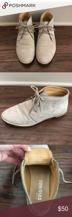 Clarks desert boot Clarks Originals desert boot! Grey suede. Lightly worn. Has a little bit of rub off from jeans on the top of the shoe, but it's not super noticeable. Selling because they are a bit too snug for me! Clarks Shoes Ankle Boots & Booties