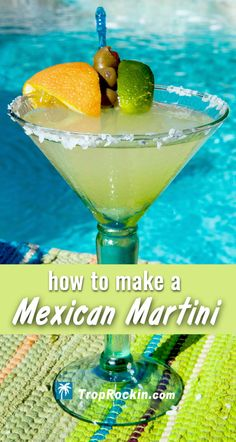 Our best Mexican Martini drink recipe starts with the best Margarita recipe! Then add a few extra flavorful ingredients to create Mexican Martini cocktail. Alcoholic drinks, summer cocktails and drinks for a crowd. The smooth margarita drink. Mexican Martini Recipe, Best Margarita Recipe, Margarita Recipes, Tropical Martini Recipe, Jalapeno Margarita, Margarita Cocktail, Summer Cocktails, Cocktail Drinks, Party Drinks