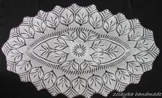 "Hand Knitted Oval Lace oval runner tablecloth, throw, centerpiece ""Deborah"" Free Shipping"