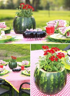 Watermelon Carved out with flowers inside as a centerpiece #summerparty