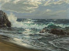 View Crashing waves by Charles Vickery on artnet. Browse upcoming and past auction lots by Charles Vickery. No Wave, Seascape Paintings, Landscape Paintings, Scenery Pictures, Ocean Scenes, Crashing Waves, Sea Art, Sea Waves, Am Meer