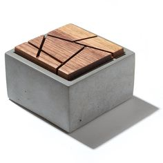 Small Grey Concrete Box with geometric sliced solid Dark American Walnut lid/Minimalist Home Decor/Jewelry Box