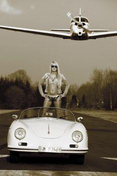 White Vintage Porsche | Blonde Hot girl
