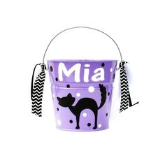Personalized Cat Halloween Trick or Treat Bucket / Pail / Toddler Size / Candy…