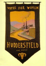 Huddersfield National Union of Women's Suffrage Society's banner, embroidered by Florence Lockwood, can be seen in Huddersfield's Tolson Museum.