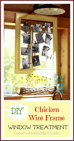 Attach Chicken Wire to an Old Frame and Hang Photos From it ~ Creative Cain Cabin