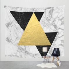 Marble Tri Black & Gold - gold foil, gold, marble, black and white, trendy, luxe, gold phone Wall Tapestry by CharlotteWinter   Society6
