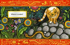 Julie Paschkis Catkin illustration - Can you guess why I like this? It has rocks and cats - two of my favorite things.