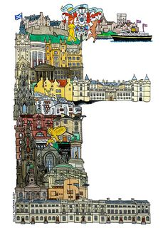 Edinburgh - ABC illustration series of European cities by Japanese illustrator Hugo Yoshikawa