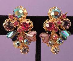 KRAMER Vintage HEART Jewel Color Rhinestone Earrings