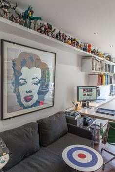 Paula & Paul's Lively London Home and Studio Name: Paula Benson and Paul West Location: Islington; London, UK Years lived in: 8 years; Toy Display, Display Shelves, Lego Shelves, Funko Pop Display, Lego Storage, Storage Hacks, Display Ideas, Ceiling Shelves, Lego Room