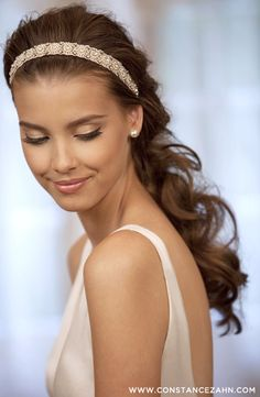 curled bridal ponytail with sparkly embellished headband ~  we ❤ this! moncheribridals.com