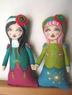"""Pocket Prims by Hally Levesque.  These dolls come with a little felt """"pocket"""" to put them in."""
