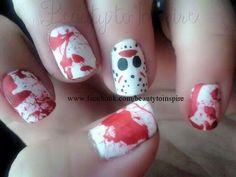 Jason Friday 13th Halloween blood splatter mask red horror nail art design. Www.facebook.com/beautytoinspire: