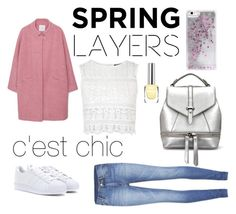 """""""Spring Layer, Spring Outift, Fashion, School Outift, Pink, Jeans, Adidas, White"""" by melikek ❤ liked on Polyvore featuring MANGO, Topshop, Cheap Monday, adidas and Skinnydip"""