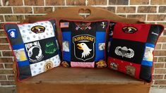 Check out these custom Veteran Patchwork Pillows made from one very special Vietnam Veteran Varsity jacket. May they bring honor to the veteran that is pictured on each pillow. These pillows are truly custom because: a custom design was created for each pillow highlighting several pieces of the jacket. Each pillow contains 9 blocks and 2 photos. Cording and embroidery were added to make them extra special. 9 Block, 2 Photos, Pictures, Memory Quilts, Patchwork Pillow, Vietnam Veterans, Quilt Making, Making Out, Custom Design