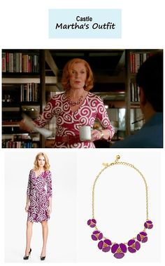 "On the blog: Martha Rodgers' (Susan Sullivan) purple swirl print wrap dress and pansy necklace | Castle - ""For Better or For Worse"" (Ep. 623) #tvstyle #tvfashion #outfits #fashion #seasonfinale #castlealways"