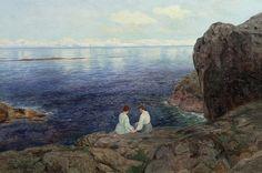 Nils Hansteen (Norwegian,1855-1912): Quiet summer evening on the Norwegian coast