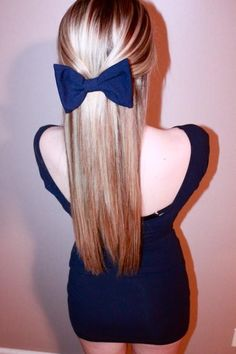 straight hair blue bow