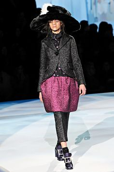 FW12 - Codie: Cashmere Baby Blanket Jacket; Lamé Blouse; Wool Brocade Skirt; Lurex Argyle Sock; Metallic Shoe; Ostrich Bag; Mink Hat